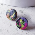 WINTER GARDEN palette black pink yellow green purple earrings clay studs gift