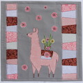 Cushion cover - Llama with flowers