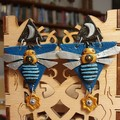 Handmade Earrings - Celestial Blue Banded Bee Drop Earrings