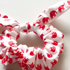 Red elephant bow scrunchies