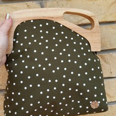 Forest green with spots Wooden off-set Handbag