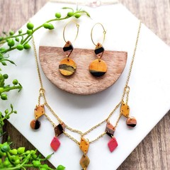 Geometric  Boho Marble Diamond Polymer Clay Statement Earrings Necklace