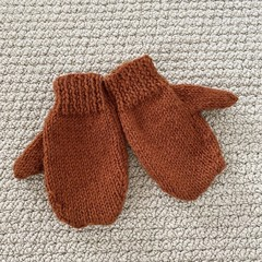 Rust Mittens Size 3-4 years - hand knitted