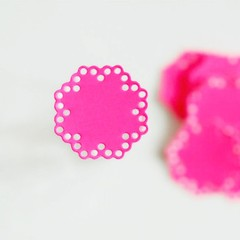Hot Pink Doily Seals {10} | Kraft Envelope Seals | Baby Shower Announcement