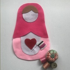 RUSSIAN DOLL SEWING KIT - LARGE HOT PINK