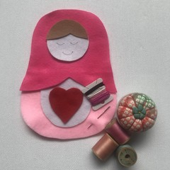 RUSSIAN DOLL SEWING KIT - SMALL HOT PINK