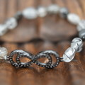 Bling Double Infinity with Irregular Tourmaline Quartz beaded Bracelet