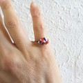 Dainty Artsy Modern style seed beaded wire ball knot ring , Deep blue Red White