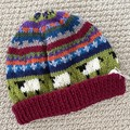 Dark Red sheep Beanie - to fit approx size 1-3 years -hand knitted