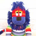 'Linus' the Rainbow Sock Lion - ex shop stock - *READY TO POST*