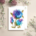 Purple Explosion Floral Alcohol Ink Art Greeting Card, Blank Inside, A6 size
