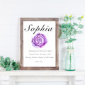Custom Name Meaning Print,  Purple Rose Watercolour, Personalised gifts, Art