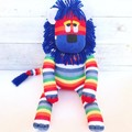 'Linus' the Rainbow Sock Lion - ex shop stock - *READY TO POST*