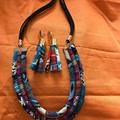 Popular Fabric Necklace & Earring Set