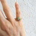 Dainty Boho style seed beaded wire ball knot ring , Sky Pale blue Yellow White