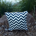 CHEVRON NAVY AND WHITE  OUTDOOR  CUSHION COVER/ SAVE IF BUY TWO