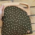 Forest green with spots Wooden off-set Handbag