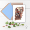 Native American Watercolour and Ink Art Greeting Card, Blank Inside, A6 size