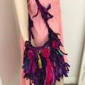 recycled silk bag, boho hand bag, crocheted silk bag, purple pink bag