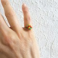 Dainty Modern Boho style seed beaded wire ball knot ring , Red Yellow Green