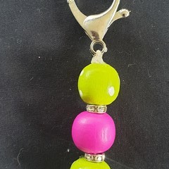 Pink and lime green with sunflower keyring