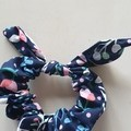 Navy with pink, green and light blue details bow scrunchies