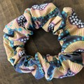 Grey Abstract Floral Scrunchies