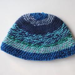 Double Crocheted Beanie in Blues