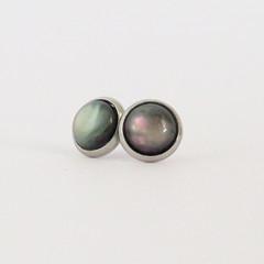 Black Shell Cabochon Earrings - Bezel Set Studs 10mm