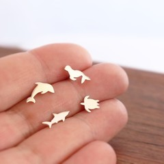 Set of 4 Ocean Creature Stud Earrings in Sterling Silver