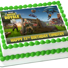 Fortnite Battle Royale Rectangle Edible Icing  Personalized  Cake Topper #944