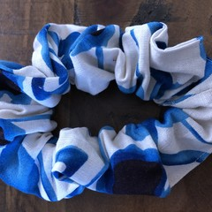 Navy Floral Cotton Linen Scrunchies