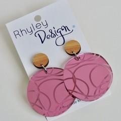 Mirror Pink Large Statement Orbital Earrings
