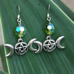 SP Triple moon Goddess earrings with iridescent green glass bead.