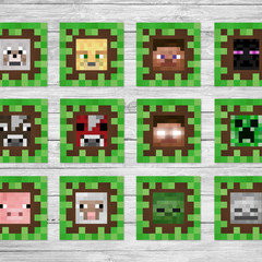 Minecraft Edible Wafer Square Cupcake Toppers