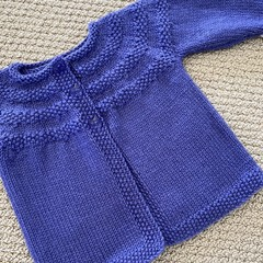 Purple Cardigan - Size 6-12 months - Hand knitted in pure wool