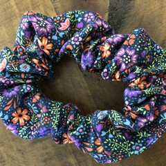 Navy Wildflower Scrunchies