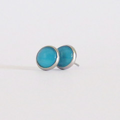 Blue Glass Cabochon Earrings - Bezel Set Studs 10mm