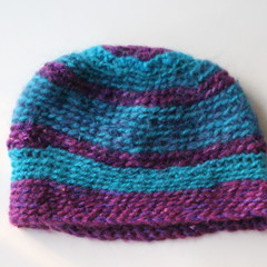 Double Crocheted Beanie Purple Blue Sparkly