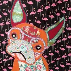 """""""Fran"""" the Frenchie  Flamingo Tote"""