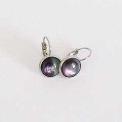 Black Shell Drop Earrings - Bezel Set 12mm