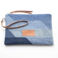 Large Upcycled Denim Clutch