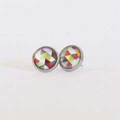 Geometric -  Glass Cabochon Earrings - Bezel Set Studs 12mm