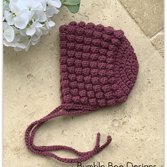 Crochet Baby Bobble Bonnet, Mulberry Organic Australian Wool, 3-6 months