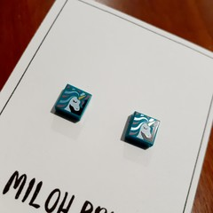 SQUARE - Teeny Square Printed Stud Earrings