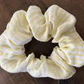 Yellow Stripe  Cotton Linen Scrunchies