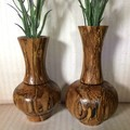 Two Wood Turned Bulbous Twig Pots