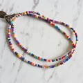 Vintage Mid century style Colourful Rainbow seed bead layered bracelet , No3
