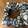 Grey and blue Spots Scrunchies