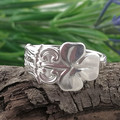 CLOVER SPOON RING, Sterling Silver Shamrock ring.